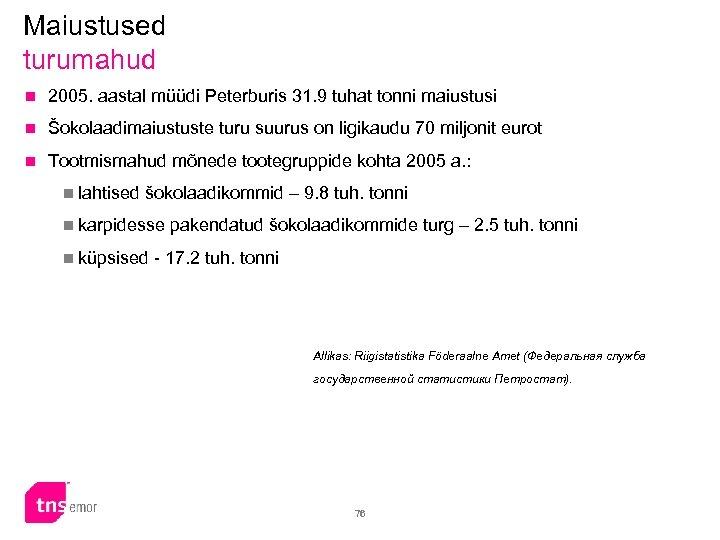 Maiustused turumahud n 2005. aastal müüdi Peterburis 31. 9 tuhat tonni maiustusi n Šokolaadimaiustuste