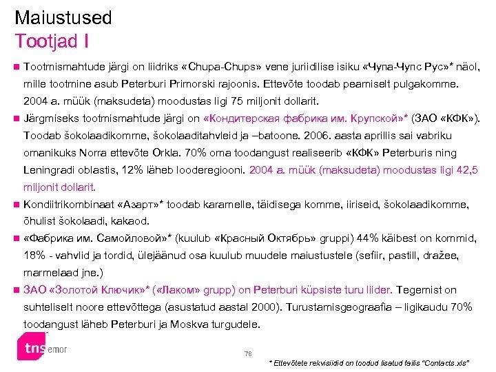 Maiustused Tootjad I n Tootmismahtude järgi on liidriks «Chupa-Chups» vene juriidilise isiku «Чупа-Чупс Рус»
