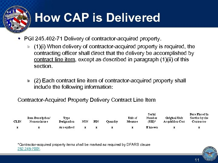How CAP is Delivered w PGI 245. 402 -71 Delivery of contractor-acquired property. »