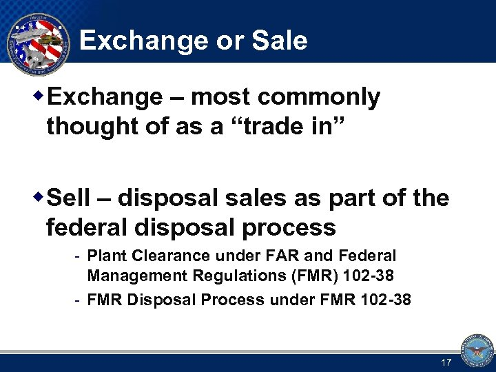 "Exchange or Sale w Exchange – most commonly thought of as a ""trade in"""