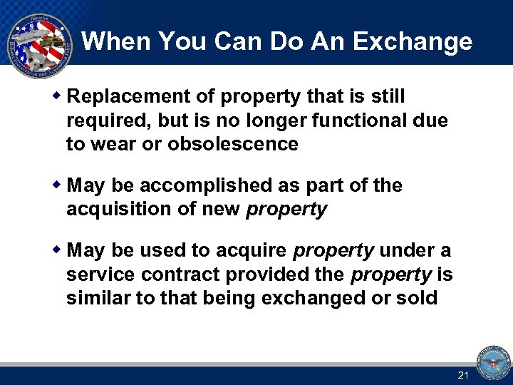 When You Can Do An Exchange w Replacement of property that is still required,