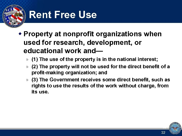 Rent Free Use w Property at nonprofit organizations when used for research, development, or