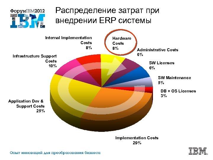 Распределение затрат при внедрении ERP системы Internal Implementation Costs 8% Infrastructure Support Costs 10%