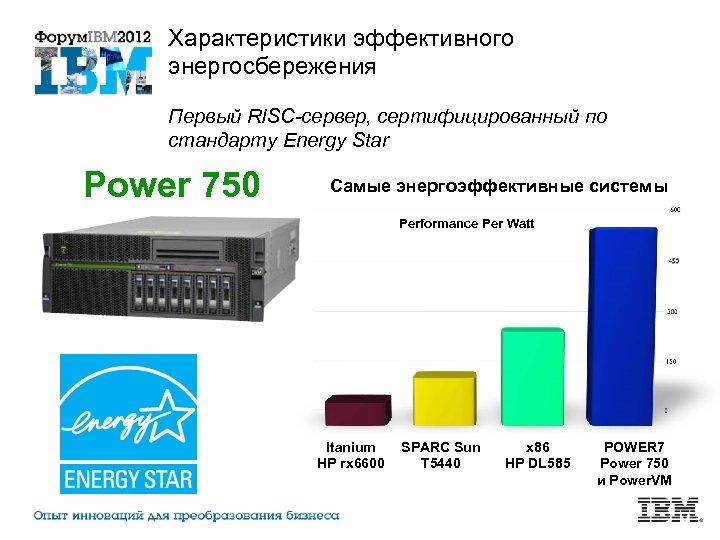 Характеристики эффективного энергосбережения Первый RISC-сервер, сертифицированный по стандарту Energy Star Power 750 Самые энергоэффективные