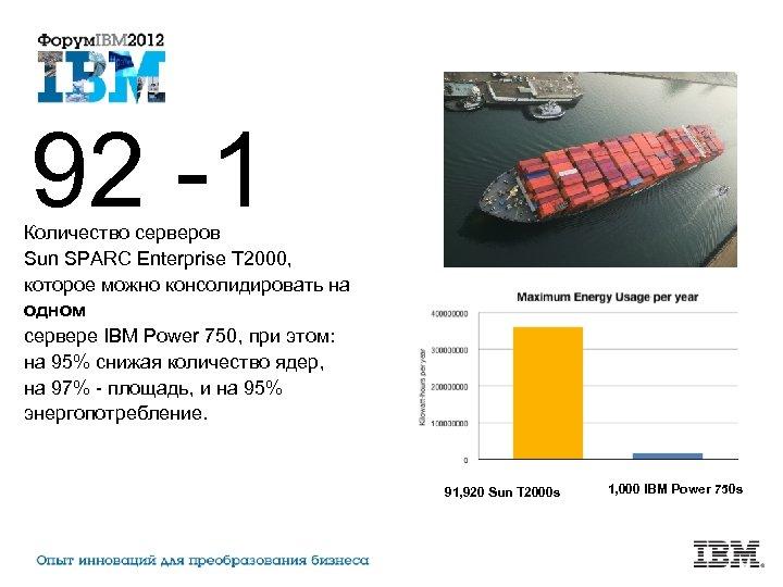 92 -1 Количество серверов Sun SPARC Enterprise T 2000, которое можно консолидировать на одном