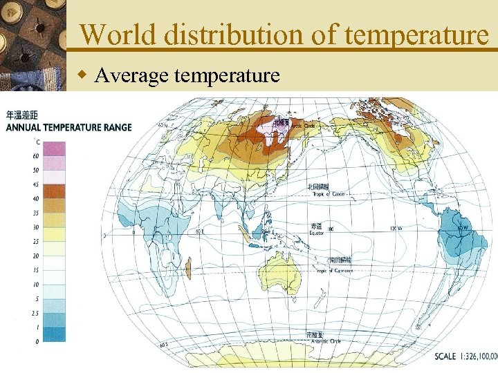 World distribution of temperature w Average temperature