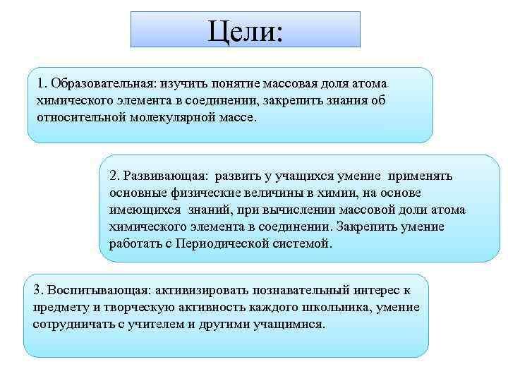 Цели: 1. Образовательная: изучить понятие массовая доля атома химического элемента в соединении, закрепить знания