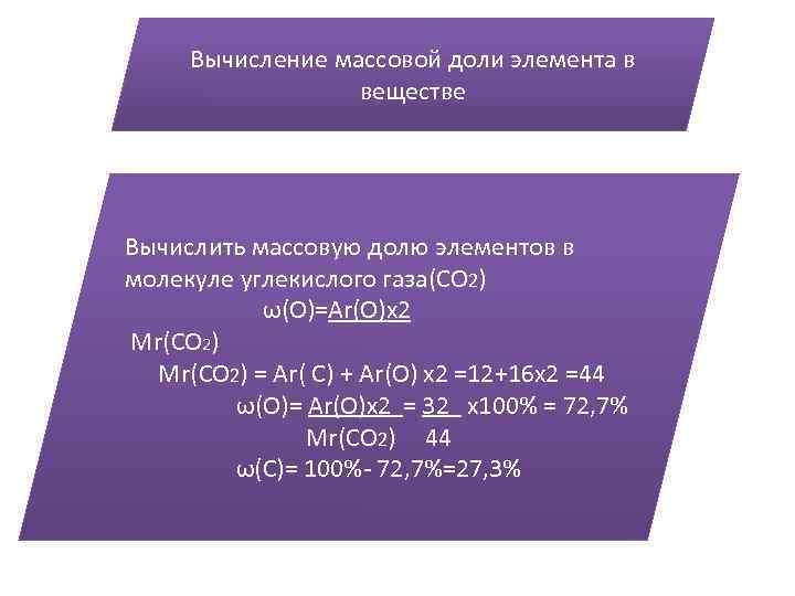 Вычисление массовой доли элемента в веществе Вычислить массовую долю элементов в молекуле углекислого газа(СО