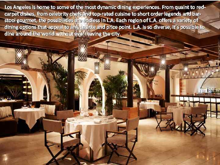 Los Angeles is home to some of the most dynamic dining experiences. From quaint