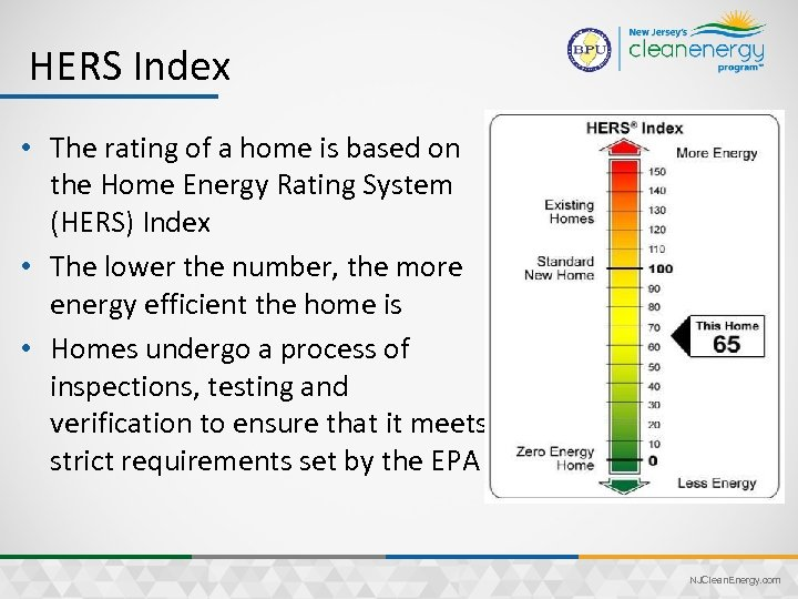 HERS Index • The rating of a home is based on the Home Energy