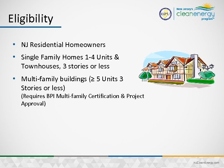 Eligibility • NJ Residential Homeowners • Single Family Homes 1 -4 Units & Townhouses,