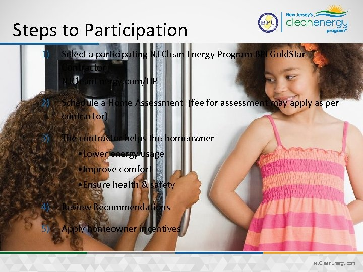 Steps to Participation 1) Select a participating NJ Clean Energy Program BPI Gold. Star