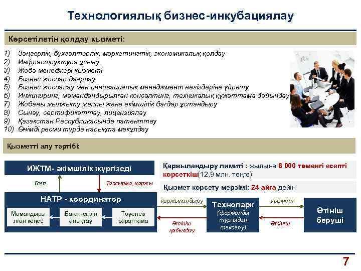 Технологиялық бизнес-инкубациялау Көрсетілетін қолдау кызметі: 1) 2) 3) 4) 5) 6) 7) 8) 9)