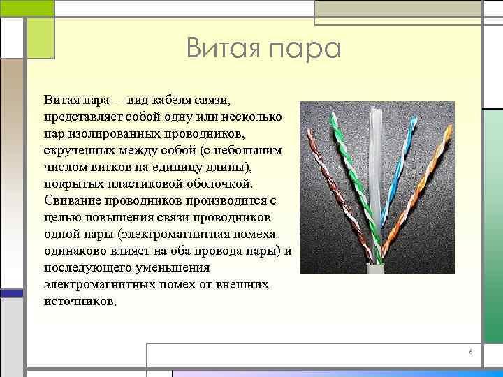 Витая пара – вид кабеля связи, представляет собой одну или несколько пар изолированных проводников,