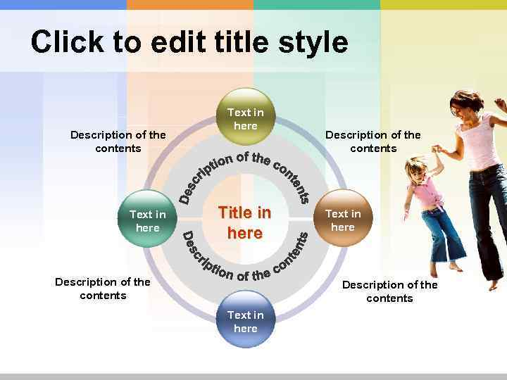 Click to edit title style Description of the contents Text in here Title in
