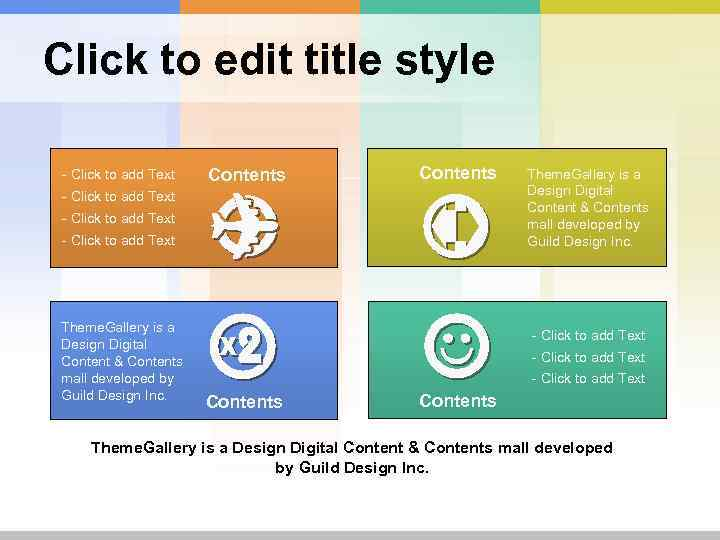 Click to edit title style - Click to add Text Contents - Click to