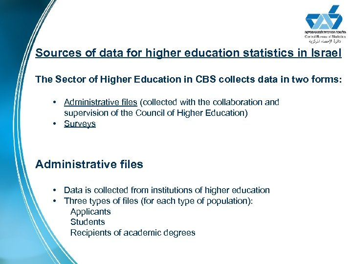 Sources of data for higher education statistics in Israel The Sector of Higher Education