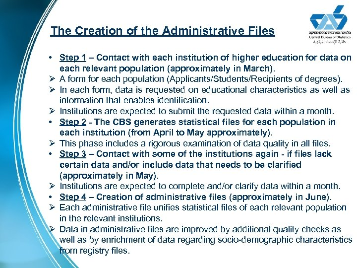 The Creation of the Administrative Files • Step 1 – Contact with each