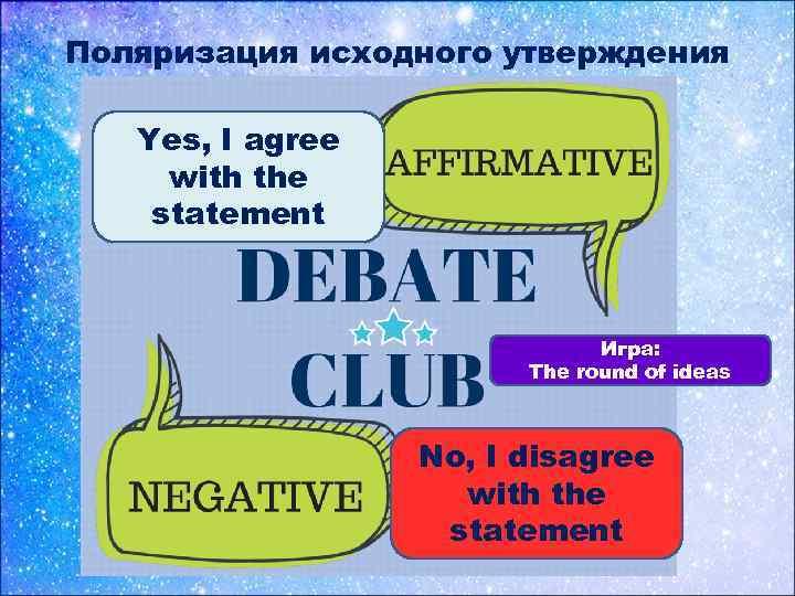 Поляризация исходного утверждения Yes, I agree with the statement Игра: The round of ideas