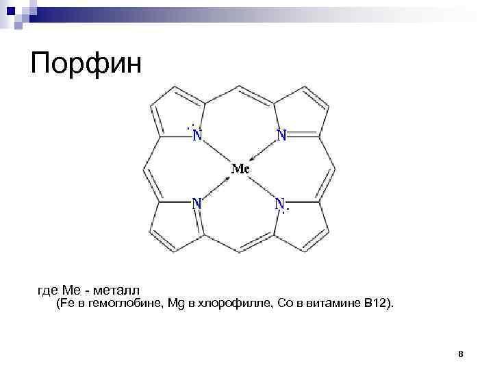 Порфин где Ме - металл (Fe в гемоглобине, Mg в хлорофилле, Co в витамине