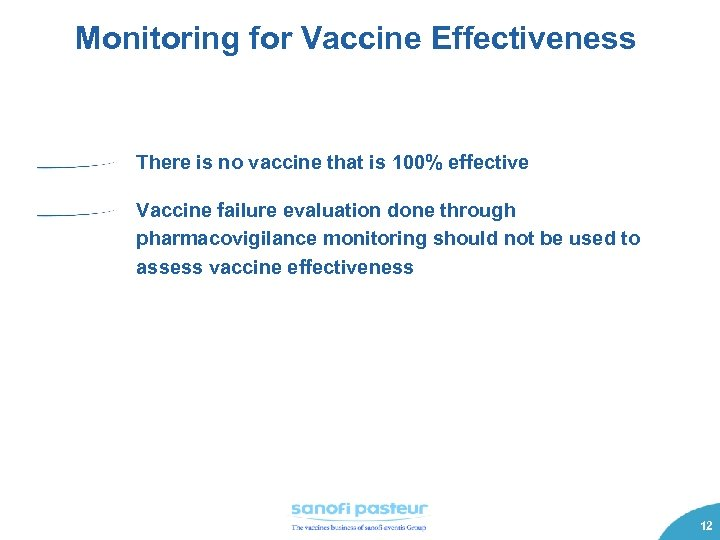 Monitoring for Vaccine Effectiveness There is no vaccine that is 100% effective Vaccine failure