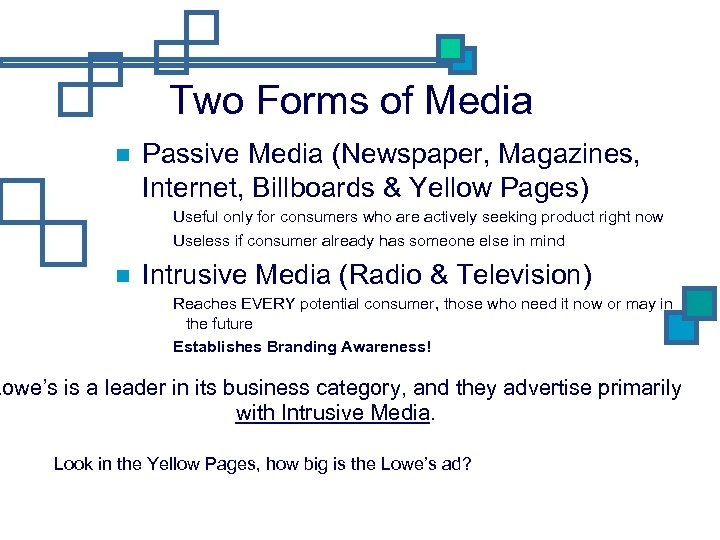 Two Forms of Media Passive Media (Newspaper, Magazines, Internet, Billboards & Yellow Pages) Useful
