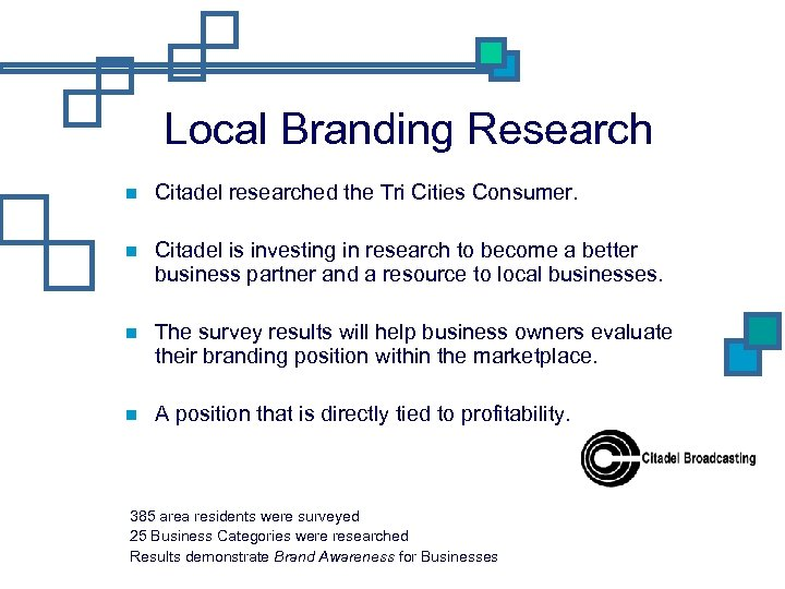 Local Branding Research Citadel researched the Tri Cities Consumer. Citadel is investing in research