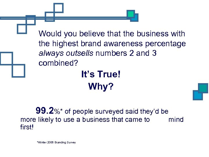 Would you believe that the business with the highest brand awareness percentage always outsells