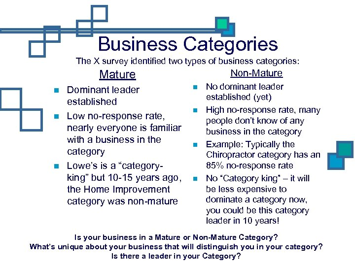 Business Categories The X survey identified two types of business categories: Non-Mature Dominant leader