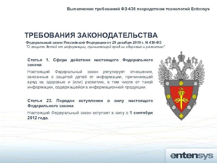 Выполнение требований ФЗ-436 посредством технологий Entensys ТРЕБОВАНИЯ ЗАКОНОДАТЕЛЬСТВА Федеральный закон Российской Федерации от 29