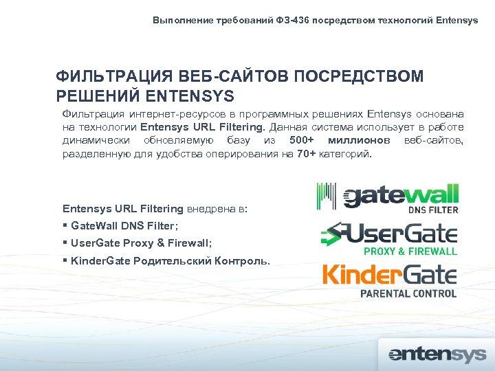 Выполнение требований ФЗ-436 посредством технологий Entensys ФИЛЬТРАЦИЯ ВЕБ-САЙТОВ ПОСРЕДСТВОМ РЕШЕНИЙ ENTENSYS Фильтрация интернет-ресурсов в