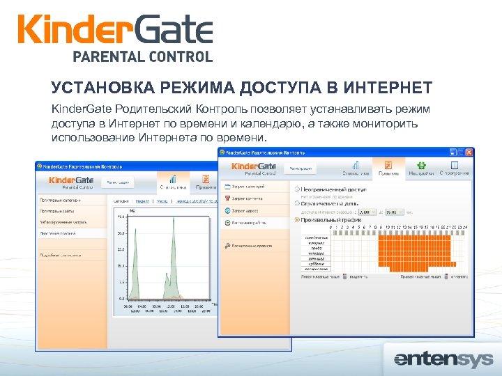 УСТАНОВКА РЕЖИМА ДОСТУПА В ИНТЕРНЕТ Kinder. Gate Родительский Контроль позволяет устанавливать режим доступа в