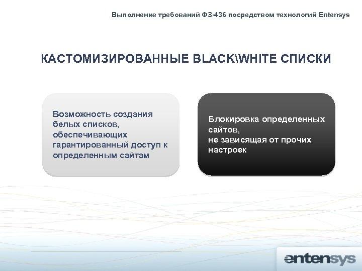 Выполнение требований ФЗ-436 посредством технологий Entensys КАСТОМИЗИРОВАННЫЕ BLACKWHITE СПИСКИ Возможность создания белых списков, обеспечивающих