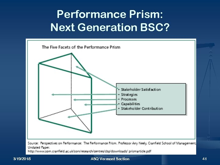 Performance Prism: Next Generation BSC? 3/19/2018 ASQ Vermont Section 41