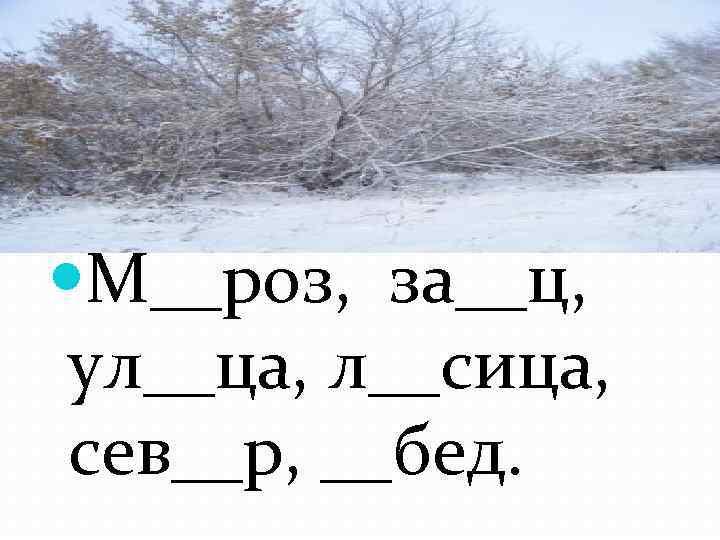 Словарная работа М__роз, за__ц, ул__ца, л__сица, сев__р, __бед.