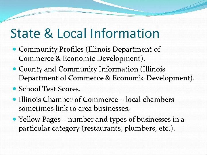 State & Local Information Community Profiles (Illinois Department of Commerce & Economic Development). County