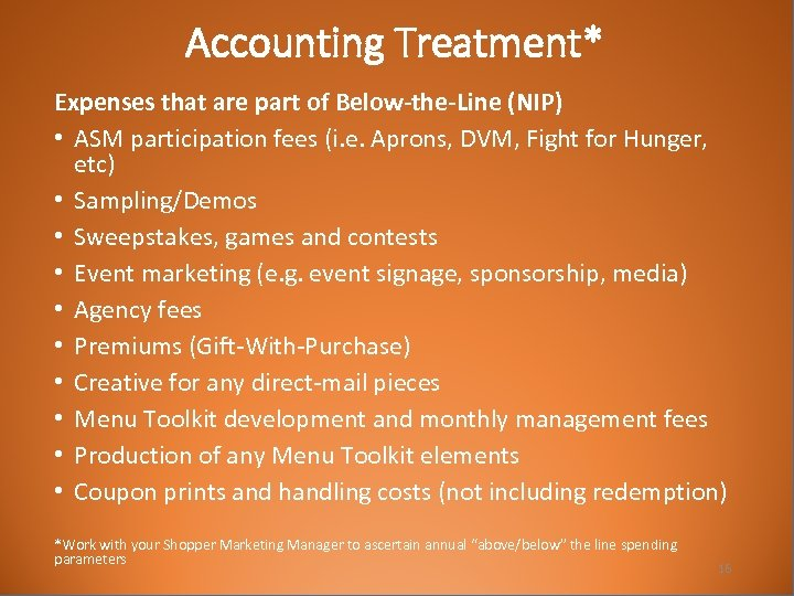 Accounting Treatment* Expenses that are part of Below-the-Line (NIP) • ASM participation fees (i.