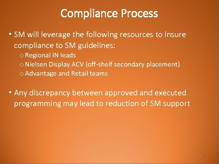 Compliance Process • SM will leverage the following resources to insure compliance to SM
