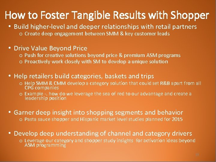 How to Foster Tangible Results with Shopper • Build higher-level and deeper relationships with