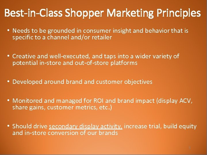 Best-in-Class Shopper Marketing Principles • Needs to be grounded in consumer insight and behavior