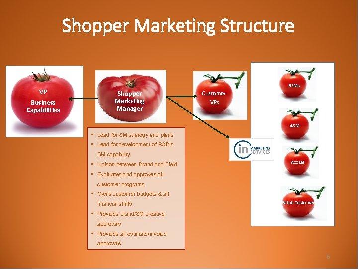 Shopper Marketing Structure VP Business Capabilities RSMs Shopper Marketing Manager Customer VPs ASM •