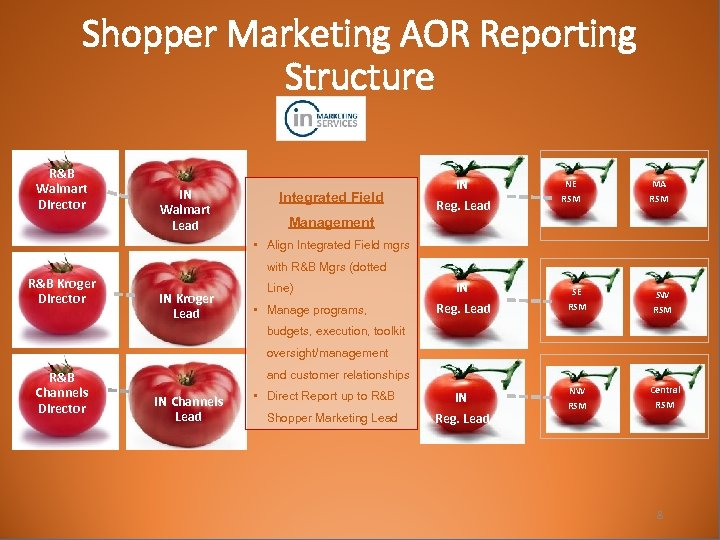 Shopper Marketing AOR Reporting Structure R&B Walmart Director IN Walmart Lead Integrated Field Management