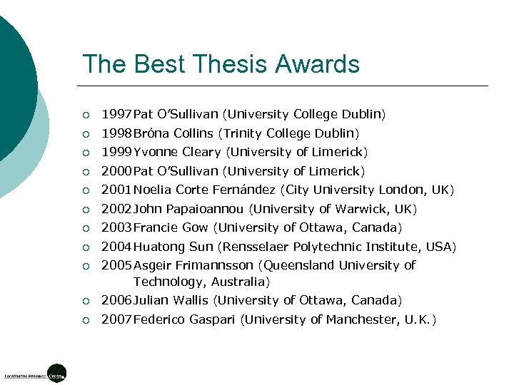 The Best Thesis Awards ¡ 1997 Pat O'Sullivan (University College Dublin) ¡ 1998 Bróna