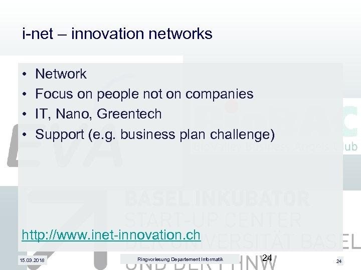 i-net – innovation networks • • Network Focus on people not on companies IT,