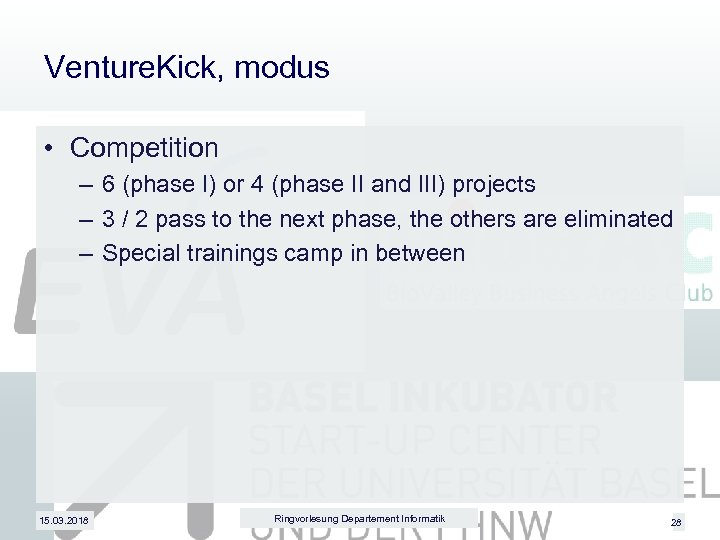 Venture. Kick, modus • Competition – 6 (phase I) or 4 (phase II and