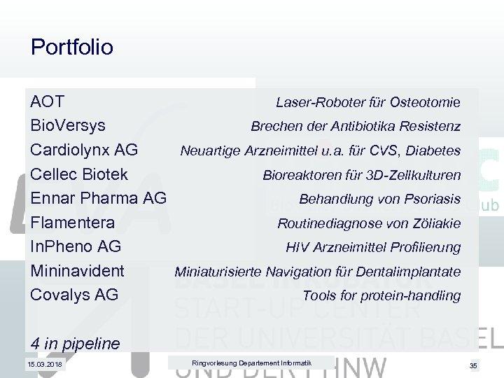 Portfolio AOT Laser-Roboter für Osteotomie Bio. Versys Brechen der Antibiotika Resistenz Cardiolynx AG Neuartige