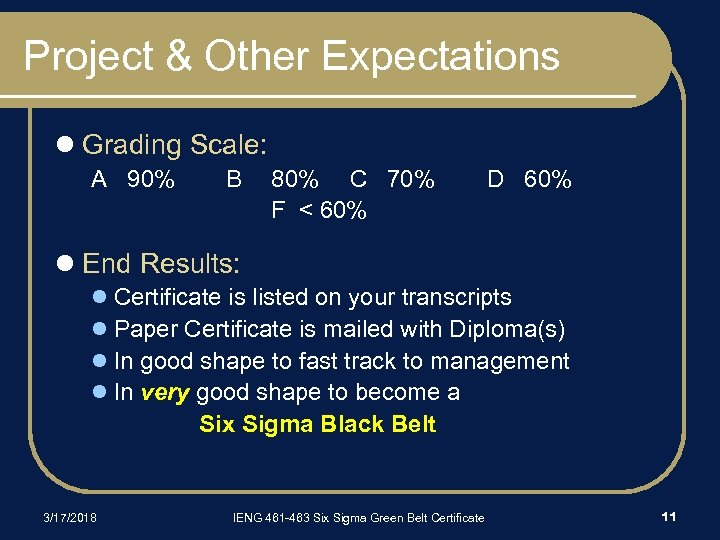 Project & Other Expectations l Grading Scale: A 90% B 80% C 70% F