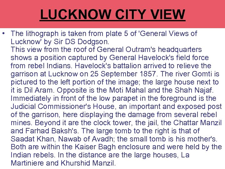 LUCKNOW CITY VIEW • The lithograph is taken from plate 5 of 'General Views