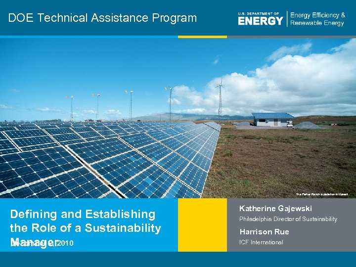 DOE Technical Assistance Program The Parker Ranch installation in Hawaii Defining and Establishing the