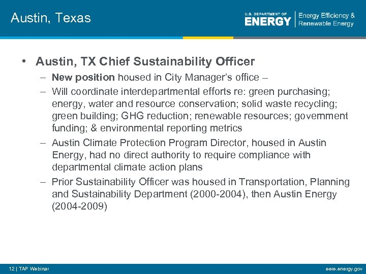 Austin, Texas • Austin, TX Chief Sustainability Officer – New position housed in City